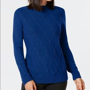 Karen Scott Bead-Embellished Mock-Neck Sweater LRG